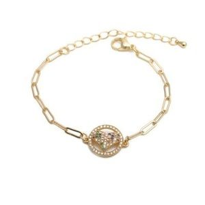 Gold Tone Multicolored Crystals Heart Bracelet